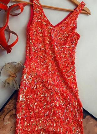 Невероятное розово-кораловое платье в паетках, bik bok