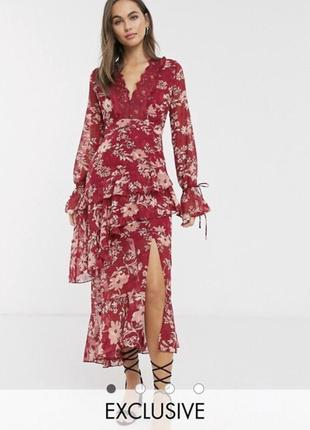Красное жаккардовое платье макси с кружевной вставкой и цветочным рисунком dark pink asos
