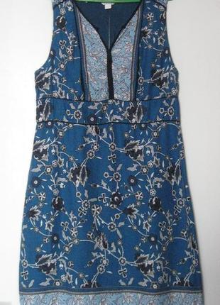 Платье хб вискоза синее в принт