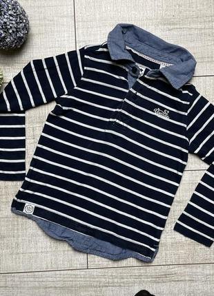 Тонкая кофта обманка рубашка лонгслив в полоску джинс palomino 104 4-5