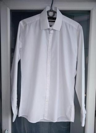 """Рубашка """"cedar wood state"""" slim fit р.s/37 (р.14.5) мужская белая зауженная"""
