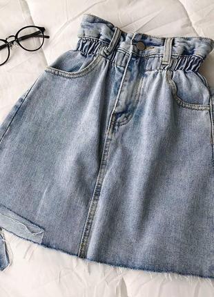 Женская джинсовая юбка на резинке
