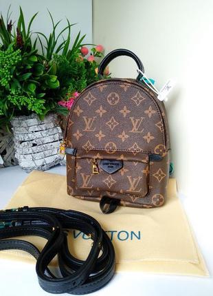 Кожаный рюкзак мини,  канва коричневый