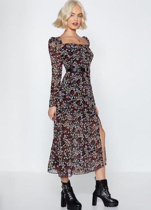 Распродажа платье nasty gal миди с разрезом с asos