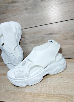 Босоножки текстиль на платформе 🍓 сандалии лето вязка чулки спортивные