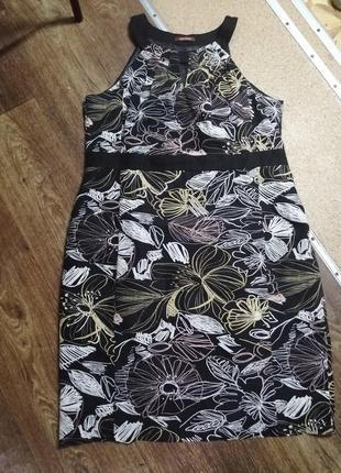 Натуральное платье принт лен