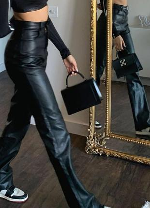 Кожаные брюки трубы штаны кожа высокая посадка брюки прямые шкіряні штани шкіра брюки жіночі