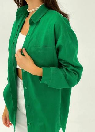 Базовая льняная рубашка зелёная