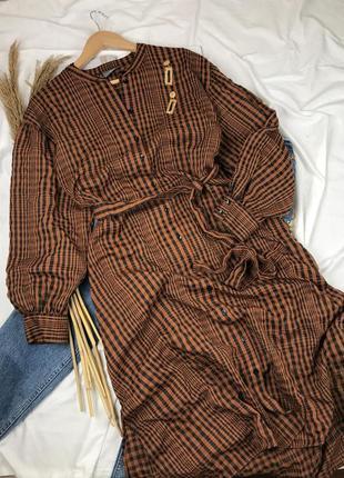 Платье миди с длинным объемным рукавом  на пуговицах с поясом с разрезами по бокам