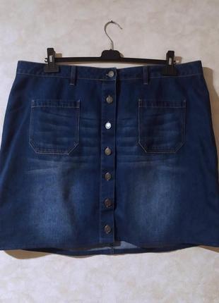 Джинсовая юбка мини с пуговицами, nutmeg, 4xl-5xl