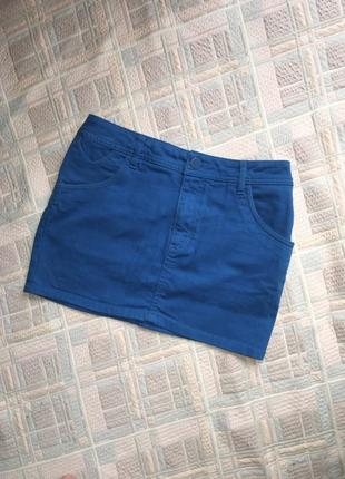 Мини юбка короткая летняя джинсовая синяя