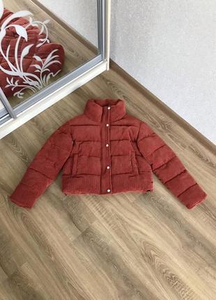 Вельветовая куртка дутик кирпичного цвета