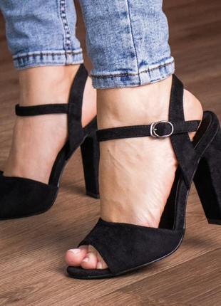 Черные модельные туфли босоножки женские летние новые эко-замша - женская обувь 2021