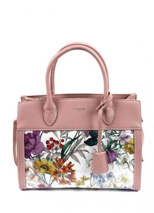 Женская сумка david jones см5056 5056 розовая с принтом лаковая