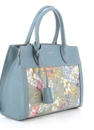 Женская сумка david jones см5056 5056 голубая с принтом лаковая