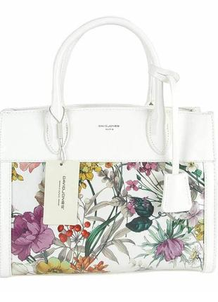 Женская сумка david jones см5056 5056 белый с принтом лаковая