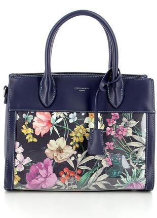 Женская сумка david jones см5056 5056 синяя с принтом лаковая