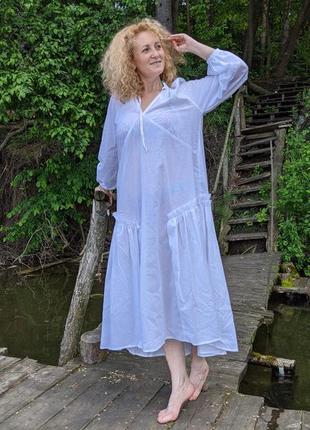 Летнее платье нежный батист с нижним платьем батист