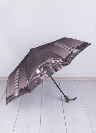 Стильный коричневый зонт с рисунком ночной город