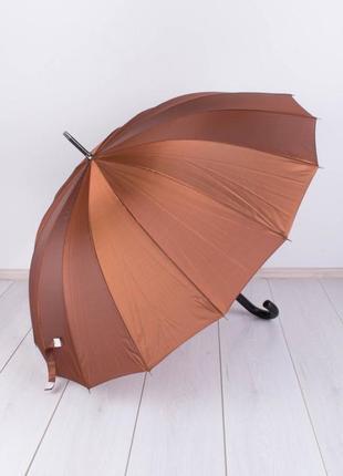 Стильный коричневый зонт трость перламутровый с переливом