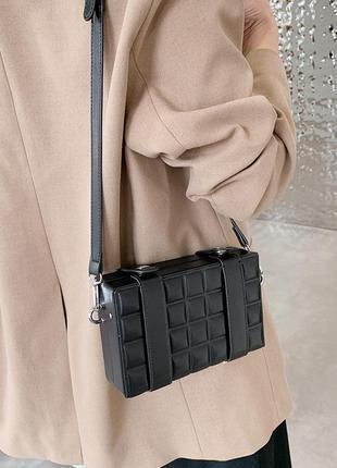 Женская черная сумочка, маленькая квадратная сумка в стиле ретро, универсальная сумка-мессенджер