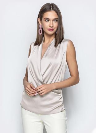 Разные цвета! шелковый топ блузка блуза без рукав на запах для офиса в деловом стиле
