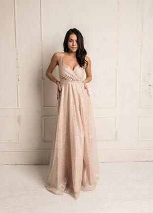 Шикарное платье цвет айвори