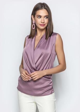 Разный цвета! шикарная шёлковая блуза блузка топ без рукав на запах