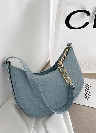 Сумочка клатч багет сумка чёрная синяя