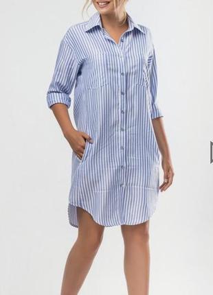 Рубашка удлиненная в бело-синюю полоску