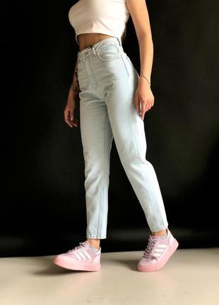 Светло-голубые джинсы мом, котон, в наличии 34-40