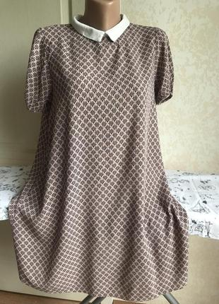 Нюдовое платье с воротничком, принт2 фото