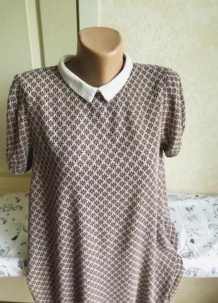 Нюдовое платье с воротничком, принт6 фото