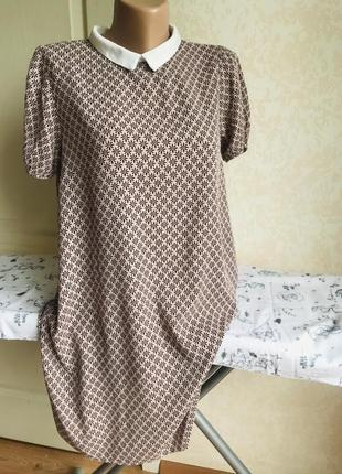 Нюдовое платье с воротничком, принт5 фото