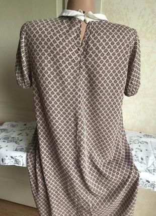 Нюдовое платье с воротничком, принт4 фото