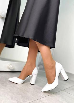 Код 4575 белые кожаные туфли luxor на устойчивом каблуке, р. 35 - 40