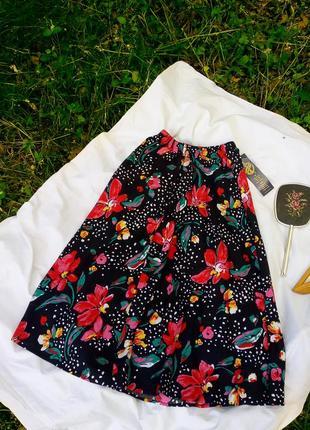 Юбка в яркие цветы под винтаж ретро