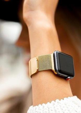 Ремінець металічний для apple watch gold