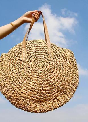 Летняя пляжная сумка вязаная плетёная под соломку