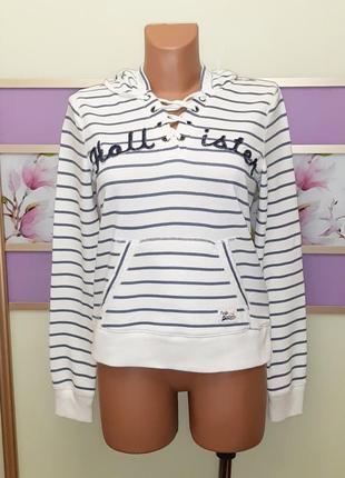 1+1=3 белое женское худи свитер с капюшоном в полоску hollister, размер 44 - 46