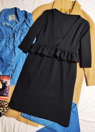 Платье чёрное трапеция большое оверсайз свободное батал с воланом миди