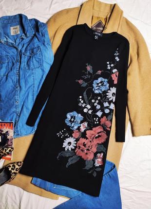 New look чёрное платье прямое трапеция с рукавом цветочный принт