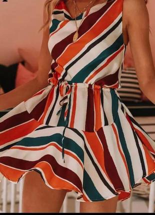 Разноцветное платье5 фото