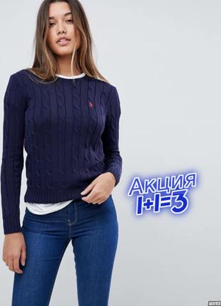 1+1=3 брендовый синий женский свитер ralph lauren оригинал, размер 46 - 48