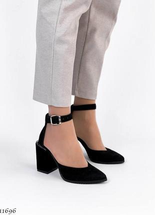 Замшевые туфли на каблуке натуральная замша кожа