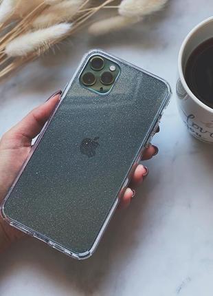 Прозорий чохол з шимером crystal сase for iphone3 фото