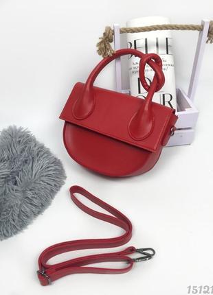 Червона напівкругла сумка з вузликом, женская сумка красная с узелком1 фото