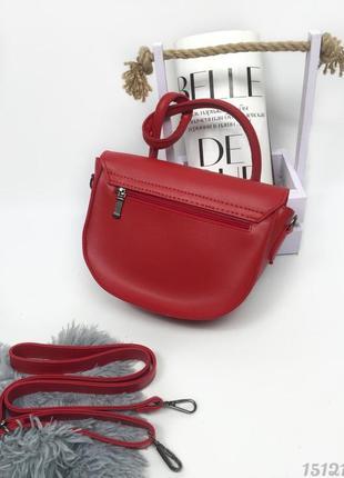 Червона напівкругла сумка з вузликом, женская сумка красная с узелком3 фото