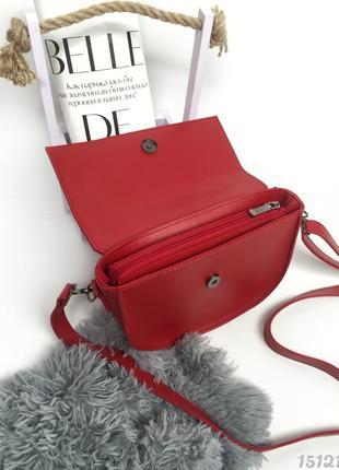 Червона напівкругла сумка з вузликом, женская сумка красная с узелком4 фото