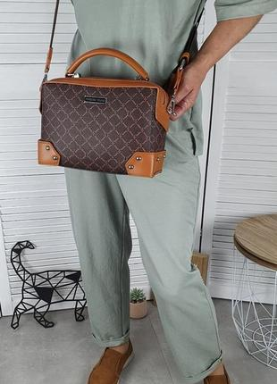 Шикарная сумка с тканевым ремешком, каркасная7 фото